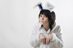 Pretty bunny woman Stock Images