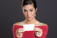 Pretty Woman Shows Blank White business card Stock Images