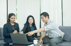 Pretty business interns listening to their team leader Stock Images