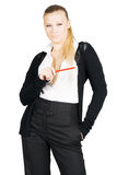Pretty business lady with pencil royalty free stock photography