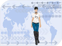 Pretty business woman. With world map Stock Photo