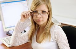 Pretty business woman. Portrait of young blonde pretty business woman Royalty Free Stock Photography