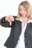 A pretty business woman (5). A pretty business woman giving the thumbs down Stock Photos