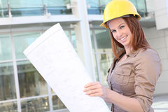 Pretty Business Woman Architect Royalty Free Stock Image
