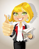 Pretty business woman with business papers Stock Image