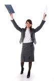 Pretty business woman celebrating success. Pretty joy business woman celebrating success over white background Royalty Free Stock Images