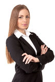 Pretty business woman confidently on white background Royalty Free Stock Photo