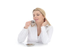 Pretty business woman drinking cup of coffee Stock Photos