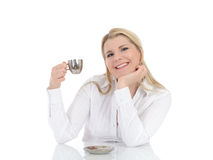 Pretty business woman drinking cup of coffee Stock Images