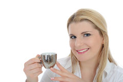 Pretty business woman drinking cup of coffee Royalty Free Stock Images