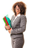 Pretty business woman with file folders Stock Photography