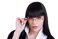 Pretty Business Woman With Glasses On White Stock Photos