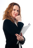 Pretty business woman holding documents Stock Photography