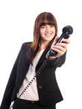 Pretty business woman holding telephone Royalty Free Stock Image