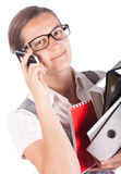 Pretty business woman with mobile Stock Images