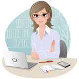 Pretty business woman at office stock illustration
