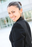Pretty Business Woman at Office Building Stock Photos
