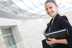 Pretty Business Woman at Office Building Royalty Free Stock Images