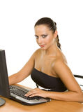 Pretty  business woman at office desk Royalty Free Stock Photography