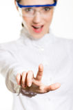 Pretty business woman pressing on virtual screen Stock Photo