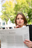 Pretty Business Woman Reading Stock Images