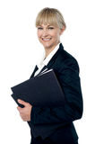 Pretty business woman ready to attend meeting royalty free stock photography