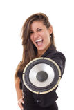 Pretty business woman with speaker royalty free stock photos