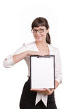 Pretty business woman with tablet smiles Royalty Free Stock Image