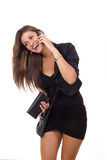 Pretty business woman talking on her mobile phone stock photo