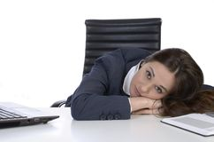 Pretty business woman in uncomfortable situation Stock Photos