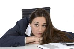Pretty business woman in uncomfortable situation Stock Photography