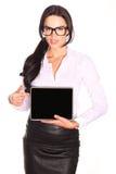 Pretty business woman using digital tablet. Stock Photo