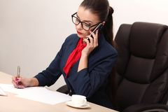 Pretty business woman working in the office Royalty Free Stock Images