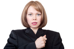 Pretty businesswoman. On a white background Stock Photography