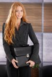 Pretty businesswoman with briefcase Royalty Free Stock Images