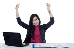 Pretty businesswoman celebrating her victory Royalty Free Stock Photography