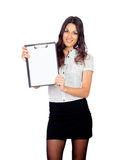 Pretty businesswoman with a clipboard Royalty Free Stock Images