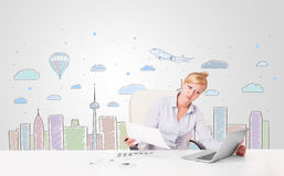 Pretty businesswoman with colorful city sky-scape background Stock Photo