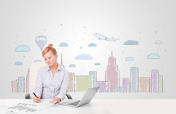 Pretty businesswoman with colorful city sky-scape background Stock Image