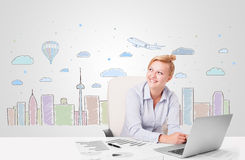 Pretty businesswoman with colorful city sky-scape background Stock Photography