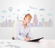 Pretty businesswoman with colorful city sky-scape background Royalty Free Stock Photos