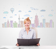 Pretty businesswoman with colorful city sky-scape background Royalty Free Stock Images