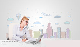 Pretty businesswoman with colorful city sky-scape background Stock Images