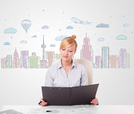 Pretty businesswoman with colorful city sky-scape background Stock Photos