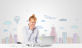 Pretty businesswoman with colorful city sky-scape background Royalty Free Stock Photo
