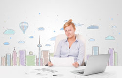 Pretty businesswoman with colorful city sky-scape background Royalty Free Stock Photography