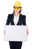 Pretty businesswoman with hard hat Stock Photos