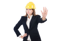 Pretty businesswoman with hard hat Stock Image