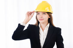 Pretty businesswoman with hard hat Stock Photo