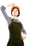 Pretty businesswoman with  helmet. Royalty Free Stock Photo